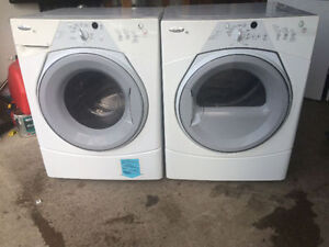 Whirlpool front load white stackable washer electric dryer works