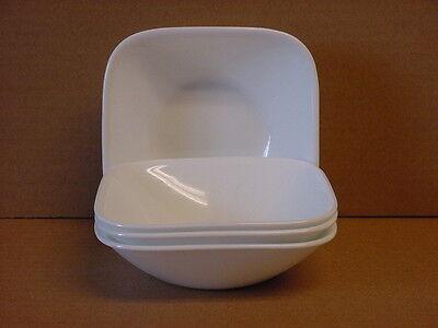 Corelle Pure White Square 10-oz Dessert Bowls Set of 4 New Made in