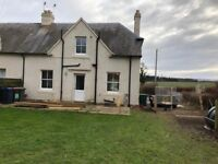 Unfurnished, semi detached, two bedroomed rural house with enclosed back garden