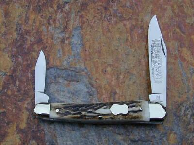 KLAAS KISSING CRANE 1901 REDO STAG WHITTLER KNIFE RARE 1/600 SOLINGEN GERMANY NM