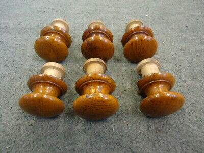 Set Of 6 Two Piece Victorian Hardwood Drawer Knobs