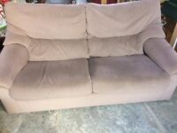 Beige sofa and matching armchair