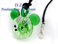 "Women's Pretty Bead Glass Murano Pendant Green ""Mickey"""