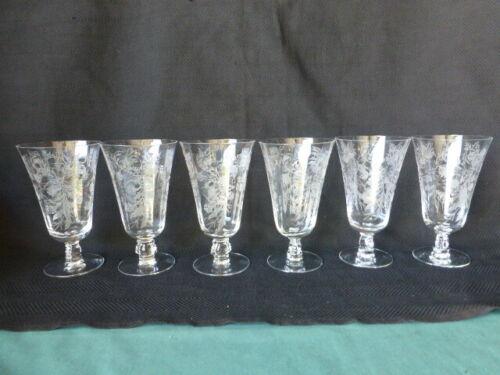 6 Vintage Elegant Glass Fostoria Heather Pattern Iced Tea Glasses