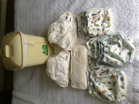 Washable nappies by Motherease - complete 'birth to potty pack'. Pristine, some unused.