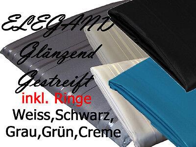 Edler TEXTIL Duschvorhang 180 / 240 x 200 cm gestreift Weiß Schwarz Creme Rosa