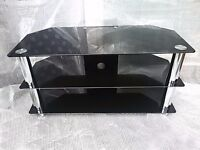 """Large Glass TV Stand for TVs up to 50"""" LED LCD 1000mm Black"""