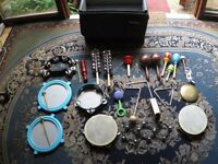 Collection of Percussion Instruments with Flight Case and Fold-up Stand