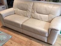 Cream/Beige Leather three seater Sofa