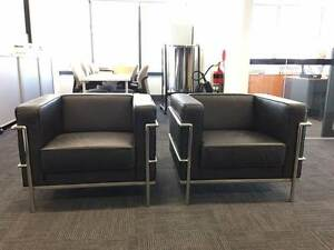 Black Leather Armchairs x 2 North Sydney North Sydney Area Preview