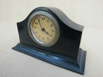 SMALL VINTAGE EBONY CLOCK FOR SPARES OR REPAIR