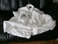 3 X MEN'S ASOS WHITE LONG SLEEVED SHIRTS - SIZE M - £1 EACH