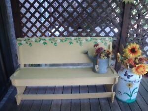 Deocorated Wooden Bench & Antique Milk Can!! $200 or Best Offer