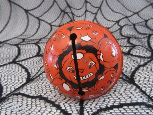 Vintage Halloween Noisemaker Tin Rattle Creepy Jack-o-Lanterns