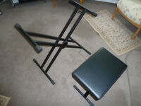 Folding keyboard stand and seat