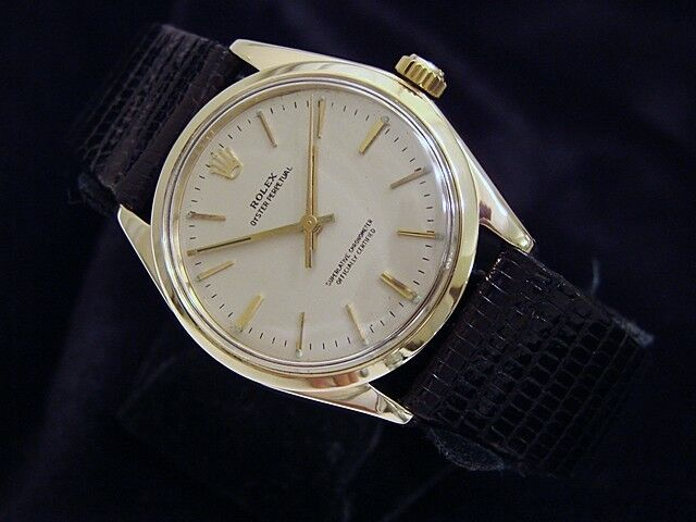Mens Rolex Solid 14k Yellow Gold Oyster Perpetual Watch Silver W/ Black Band