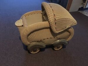 ANTIQUE WICKER BABY CARRAGE FOR SALE