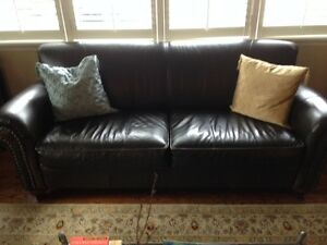 Genuine Leather Set, Couch, Loveseat, Chair & Ottoman , Like New