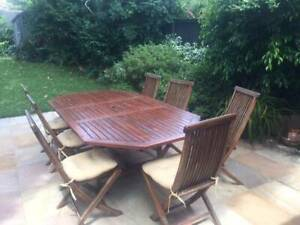 Teak outdoor dining table and 7 teak chairs | Dining ...