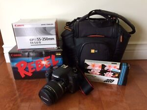 Canon Rebel T1i Camera, 55-250mm Lense and Carrying Case