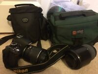 Nikon D3100 including 18-55mm and 70-300mm lens plus tripod and extras
