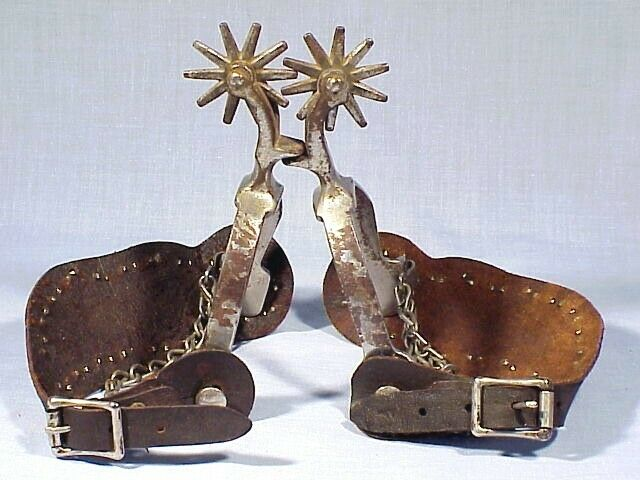 Vintage Pair of Nickel Plated DROP SHANK SPURS With STRAPS