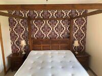 Teak Bedroom Furniture - Four Poster Bed, Bedside Tables, Drawers, Seat.