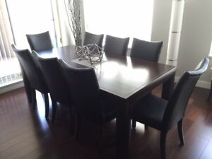 High Back Dining Chairs (8), Black Leather / Walnut