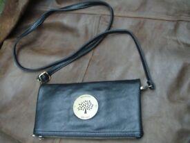 Mulberry clutch bag purse VGC black scotch grain over shoulder