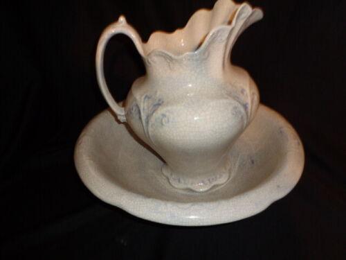 Beautiful Vintage Blue  Pitcher and Wash Basin bowl Set