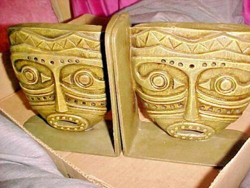 VTG Cast METAL Brass or Bronze TIKI Mayan Aztec Warriors Gods BOOKENDS HAWAIIAN