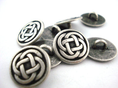 Celtic Knot Metal Buttons, Antique Silver Qty 4 to 20 Clothing or Jewelry Clasp 4 Antique Silver Jewelry