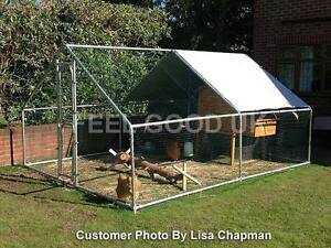 CHICKEN RUN 4M X 3M WALK IN COOP FOR POULTRY DOG RABBIT HEN CAGE PEN METAL DOOR