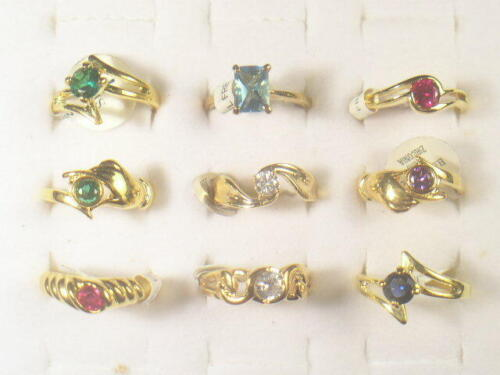 9. . DESIGNER  DOLPHIN ORE RINGS VINTAGE WITH SWAROVSKI CRYSTALS LOT 215UP