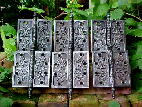 6 ANTIQUE VICTORIAN CAST IRON STEEPLE DOOR HINGE 5 x 5 HARDWARE ARCHITECTURAL