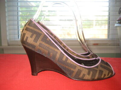 Designer Women Fendi Zucca FF Sz 35.5 US 5.5 Brown / Purple Peep Toe Wedge Shoes