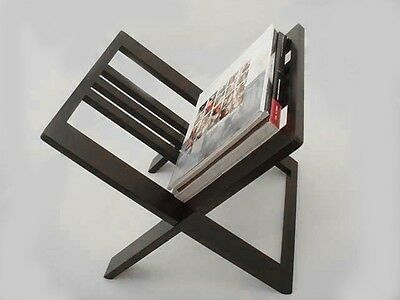 Jcf Solid Wood Black Color Magazine Rack Office Desk Accessories