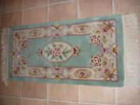 Chinese Hand Made Wool Rug - Light green pastel colours, cloth backing 130x60cm,very good condition
