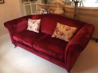 Laura Ashley Large Two Seat Gloucester - Caitlyn Cranberry Velvet - Excellent Condition to collect