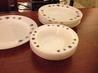 Pyrex gaiety snowflake pattern plates and bowls