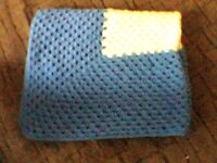 """blue and lemon hand crocheted baby throw 27"""" wide 35"""" long from smoke free home"""