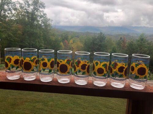 8 Pc. Vintage INDIANA GLASS Sunflower Design Drinking Glasses plus box
