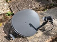 Very Neat Sky Wideband Dish (EL021) with mounting bracket, cable & bolts, must collect.