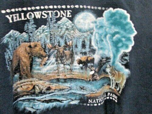 "Unisex Size 2XL YELLOWSTONE Natl Park Sweatshirt Navy Blue Gildan 56"" Bust"