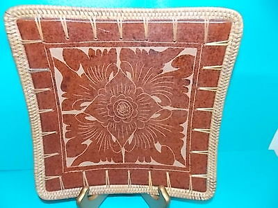 TRAY-HAND CRAFTED- TERRACOTTA & WICKER-BALI- DECORATED WITH CARVED FLOWER DESIGN