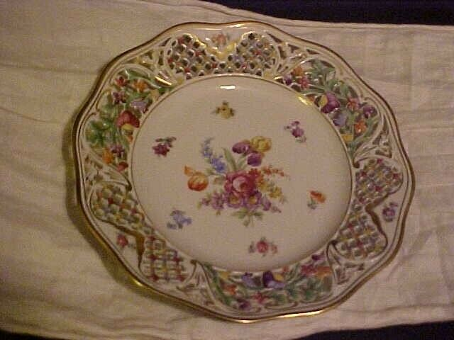 Schumann Germany CHATEAU Dresden Flowers Charger Service Plate w/ Pierced Edge