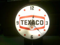 TEXACO OR POLLY GAS BACKLIT CLOCKS-VERY BRIGHT-NEW-