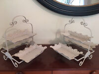 Pair of Vintage Shabby Chic Display Trays