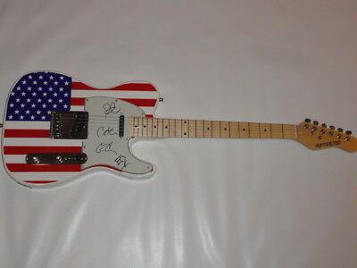 LIVE THE BAND SIGNED USA FLAG ELECTRIC GUITAR ED KOWALCZYK ALL 4 PROOF JSA COA