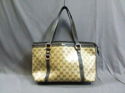 Auth GUCCI Crystal GG 268640 Beige DarkBrown Coated Canvas &  Leather
